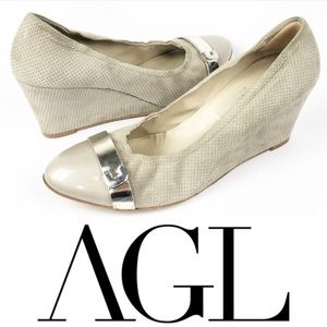 4f0c098ab68 AGL Nude Cap Toe Leather Suede Wedges size 11